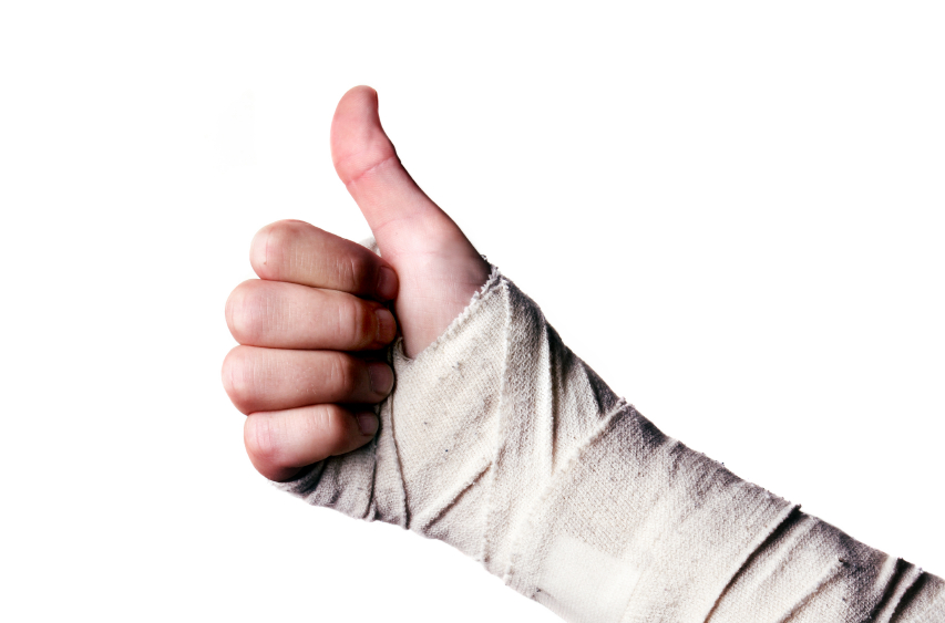 Images showing hand in a bandage with a thumbs up