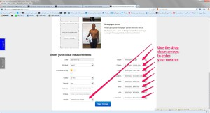 Step 4 Scroll down and use drop down arrows to enter metrics