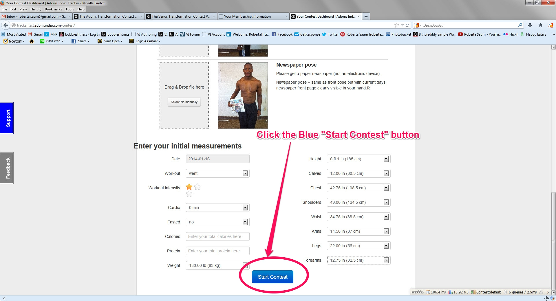 Step 5 Click the Blue Start Contest button